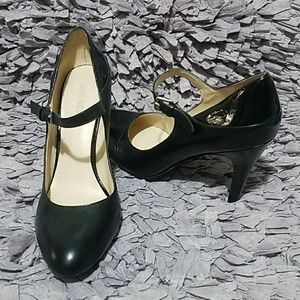 Black Leather & Patent High Heel Mary Janes